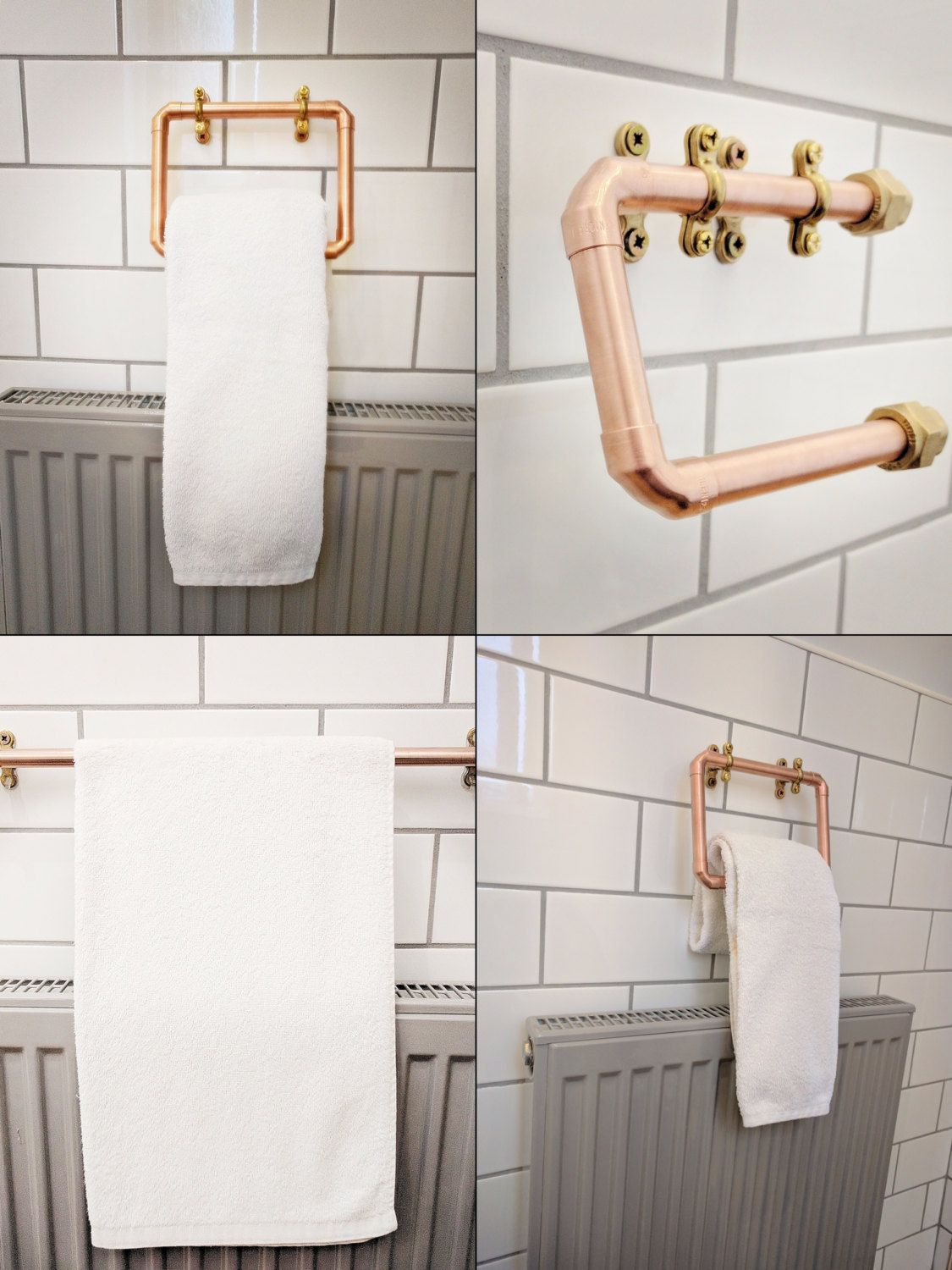 Copper Bathroom Accessory Set With Brass Or Chrome Accents Etsy Vintage Industrial Decor Modern Toilet Roll Holders Copper Bathroom Accessories