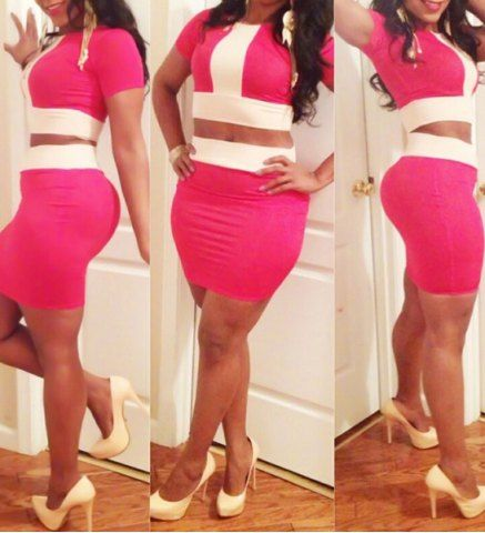 1475d4fa7 Round Neck Short Sleeve Color Block Crop Top High Waisted Skirt Twinset