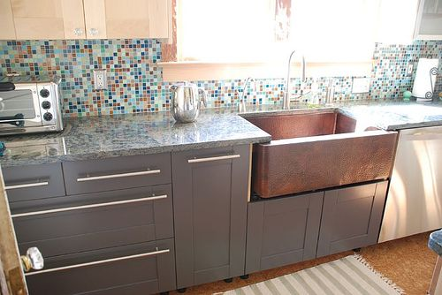 love the copper sink with the dark grey cabinetsand the backsplash ties - Grey Painted Kitchen Cabinets