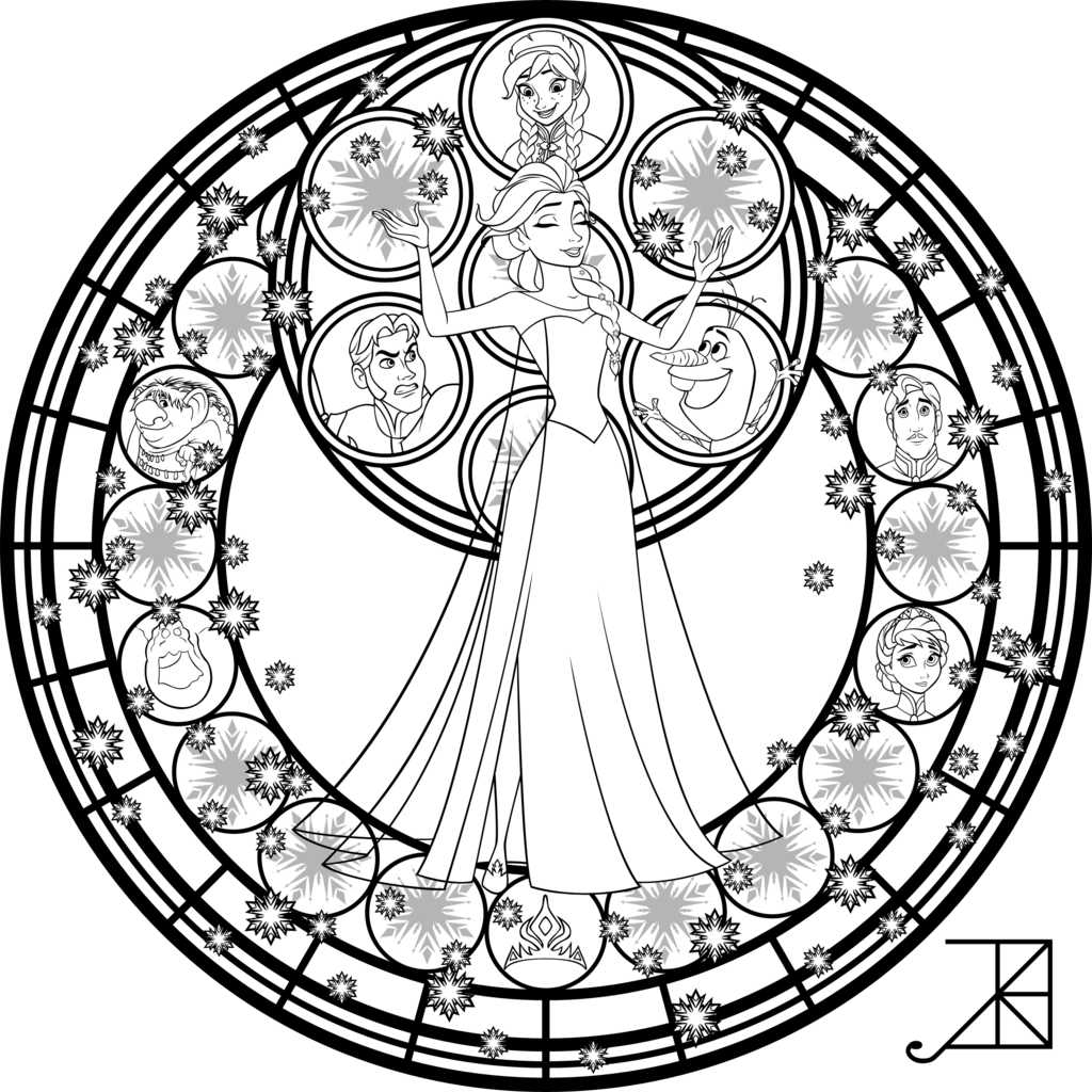 Elsa Stained Glass Line Art Disney Coloring Pages Disney Stained Glass Mandala Coloring Pages