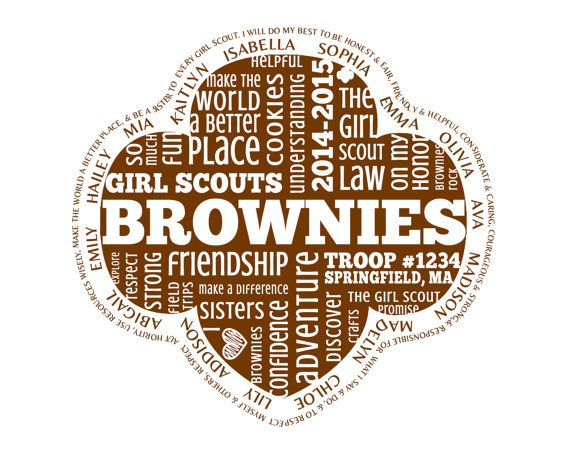 personalied brownies girl scouts word art by