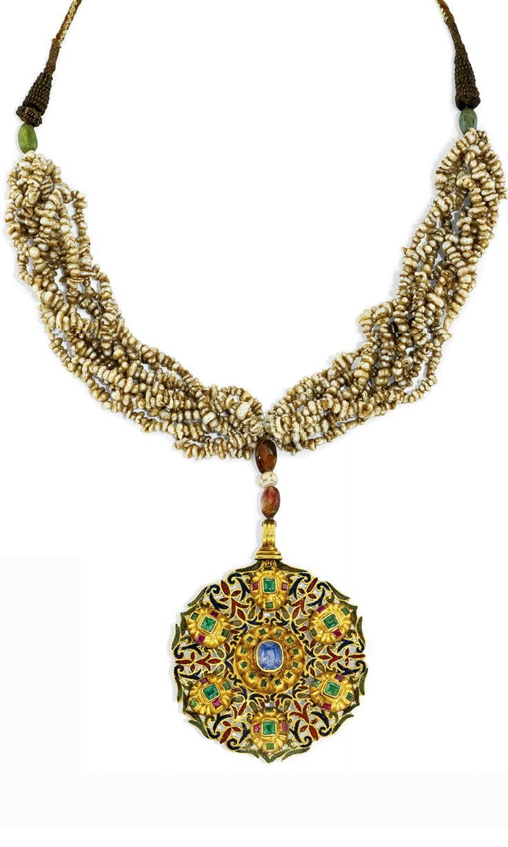 Cot In A Box Morocco Turquoise: Necklace; Gold Circular Pendant (Tazra