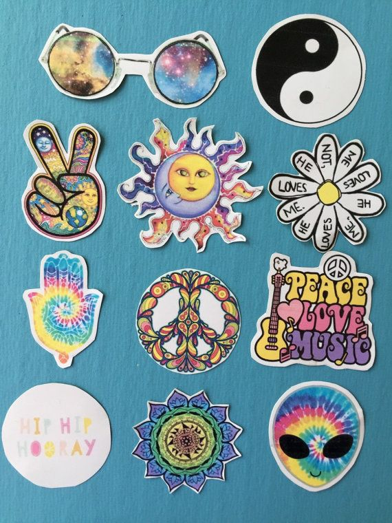 ordinary Tumblr Hippie Part - 8: Tumblr stickers- Hippie stickers - indie stickers - (pack of 9 ) laptop  stickers - phone sticker - sticker pack