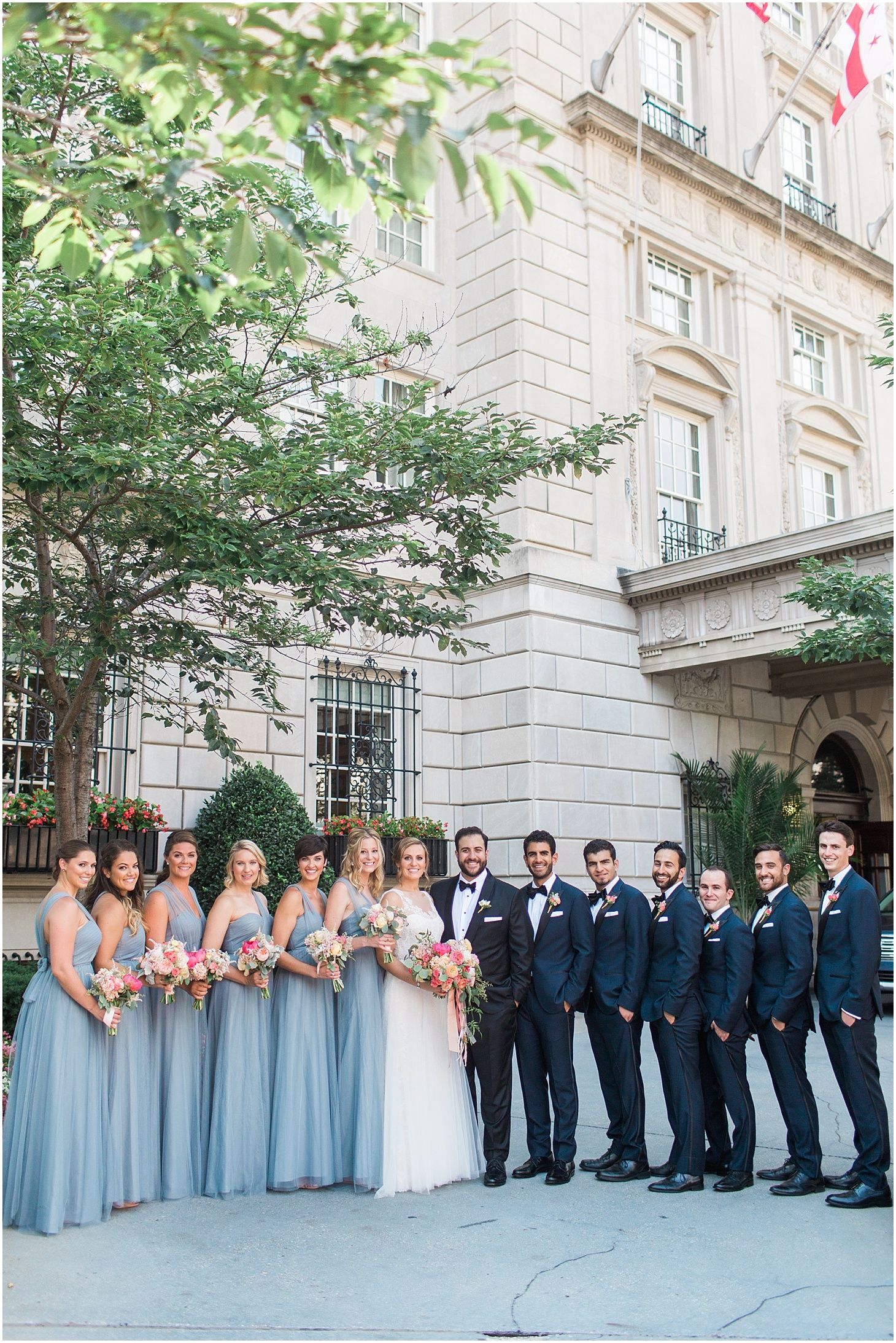 Dusty blue and coral interfaith wedding at the national museum of