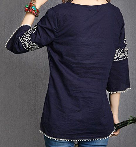 78c782bed8ef0 Triumphin Blue Women Tunic Short Kurti For Jeans Embroidered Cotton Top For  Daily wear Stylish Casual and Western Wear Women   Girls Top