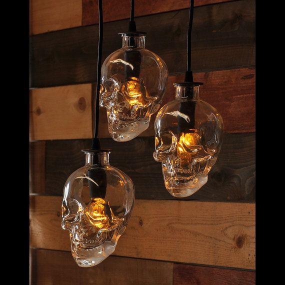 Skull bottle chandelier 3 light pendant loving our new recycled bottle pendant lamp chandelier made from crystal head vodka skull bottles aloadofball Gallery