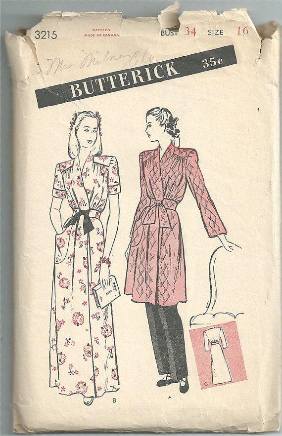 Vintage 1940s Butterick 3215 Sewing Pattern - Brunch or Housecoat ...