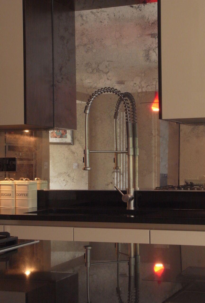 Beautiful kitchen splash back in toughened antiqued mirror glass ...