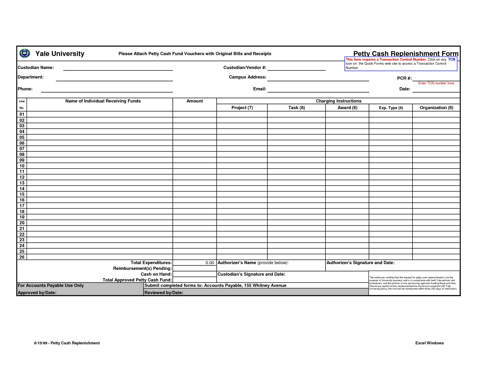 The terrific Petty Cash Form Template Excel | Tips ...