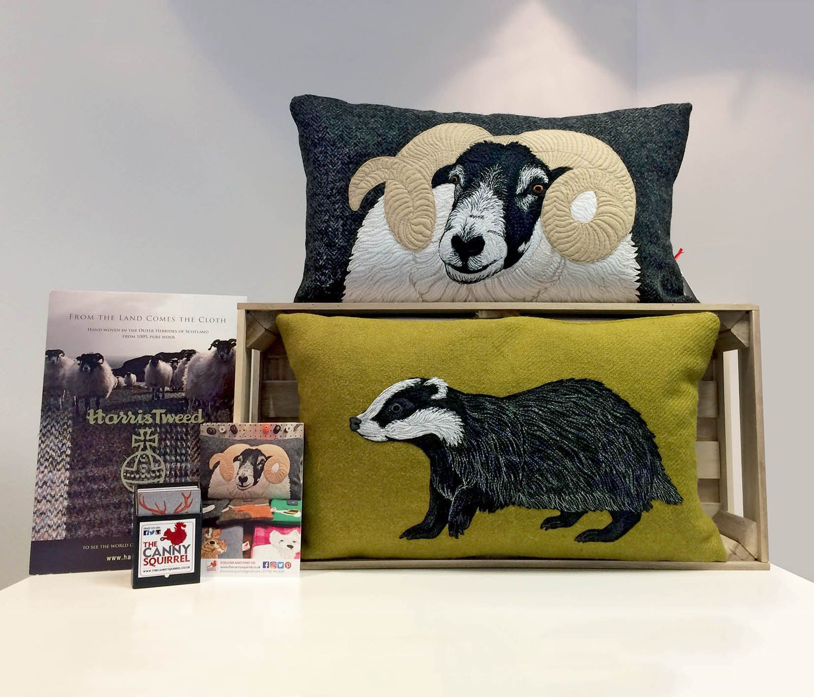 Display of handcrafted harris tweed cushions featuring