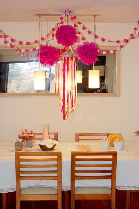 Circle Paper Garlands Tissue Paper Pompoms And Ribbon Mobile