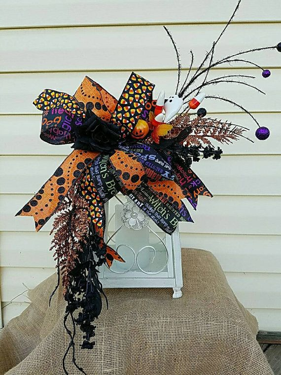 Halloween floral ghost lantern swag wreath by