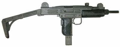 Uzi submachine gun with metallic buttstock in opened positionLoading that magazine is a pain! Get your Magazine speedloader today! http://www.amazon.com/shops/raeind
