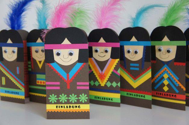 indianer karte * einladung party glückwunschkarte, Einladung