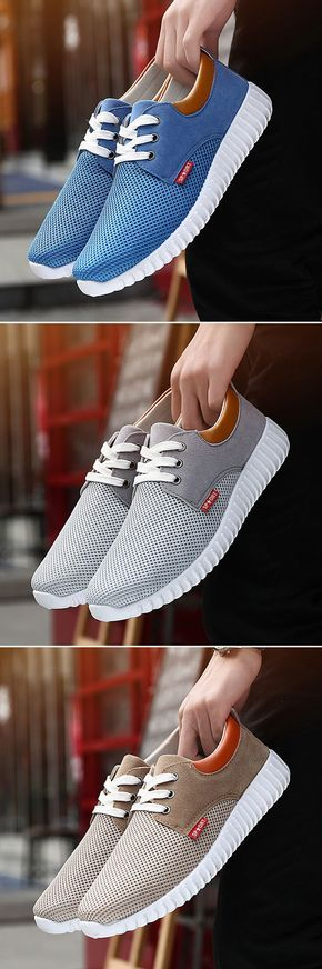 Men Mesh Fabric Breathable Shock Absorption Sneakers Sport