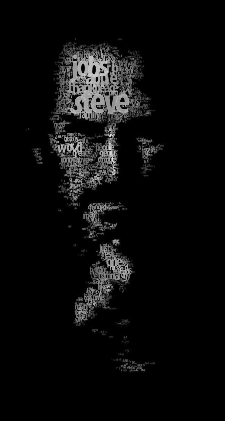 Typeface Portrait Of Steve Jobs Wallpaper For Iphone 5 5s 86