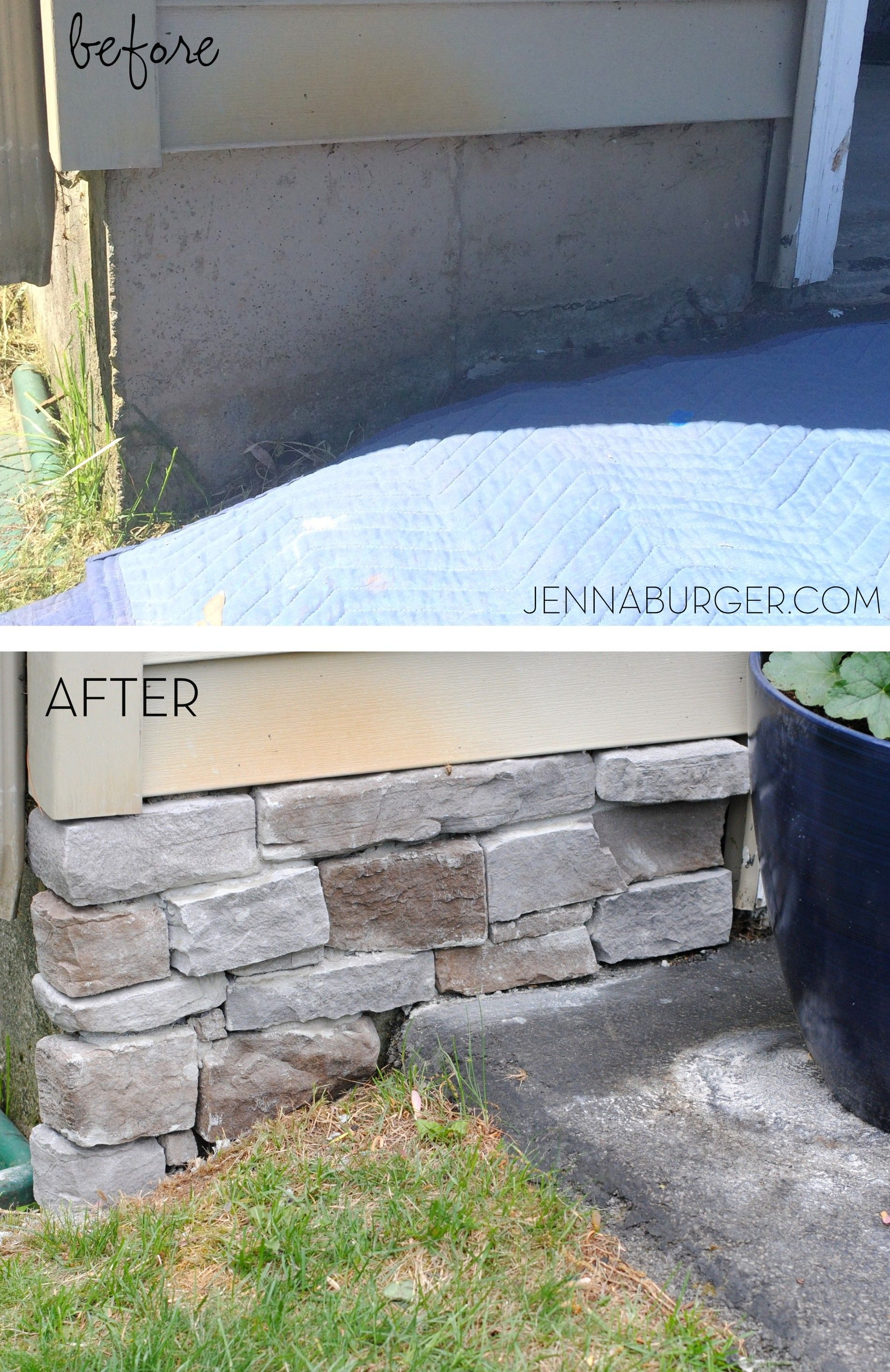 diy tutorial for adding a stone veneer to a concrete foundation wall