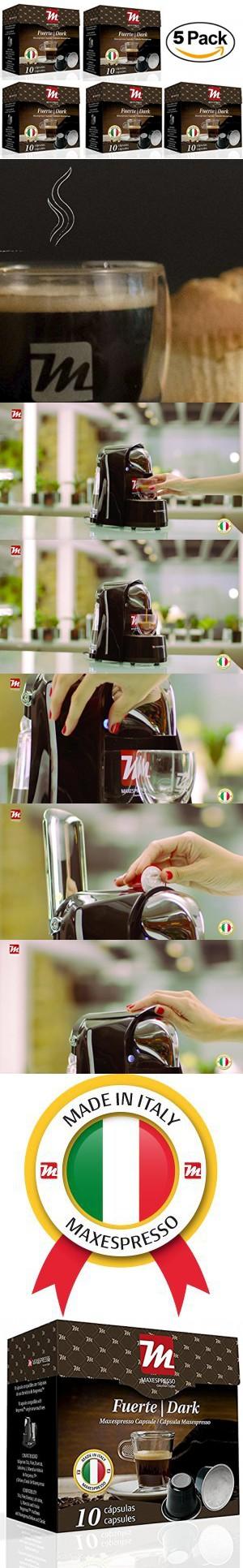 Nespresso Compatible Coffee Capsules, MaxEspresso Gourmet Coffee, Italian Quality (Dark - Fuerte, 50 Capsules)