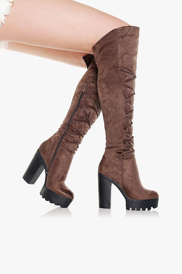 Kozaki Ocieplane Brazowe Z Wiazaniem Boots Over Knee Boot Ankle Boot