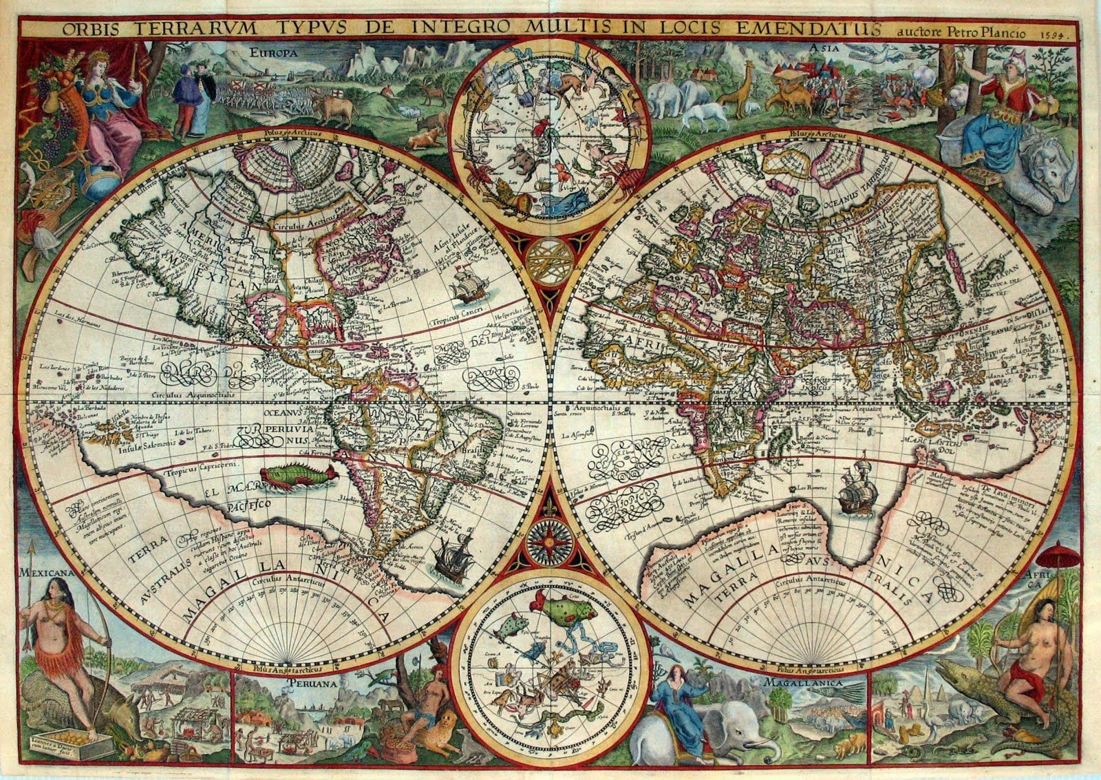 World map 16th century ancient world map description orbis world map 16th century ancient world map description orbis terrarum published by the dutch astronomer cartographer and clergyman petrus plancius in 1594 gumiabroncs Image collections