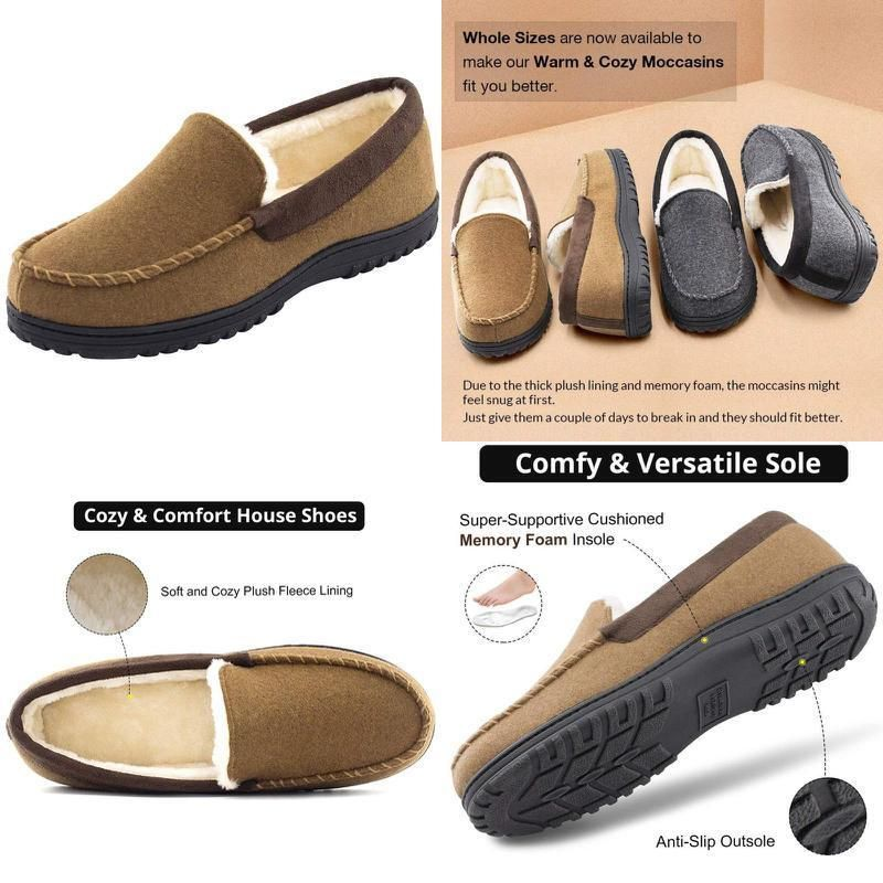 Men's Classic Cozy Warm Wool Micro Suede Moccasin,Slippers House Shoes Size 1