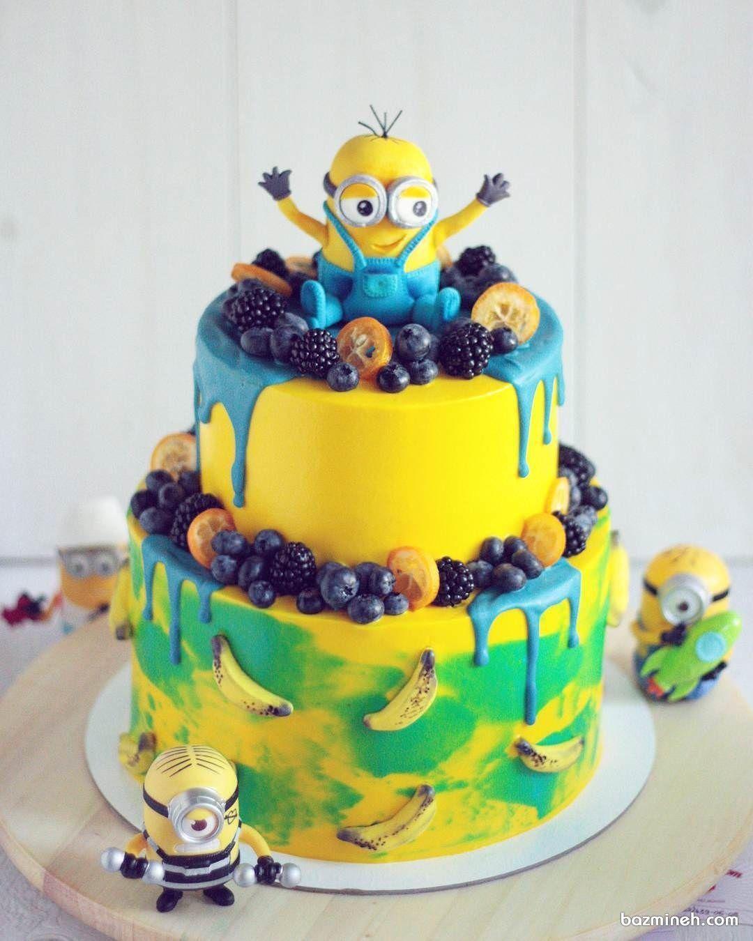 کیک تولد با طرح مینیون ها مناسب برای جشن تولد کودک Cake Birthday Cake Desserts