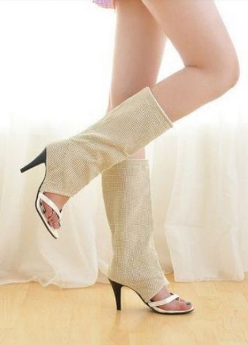 2013 Cool Ivory Suede Stiletto Heel Thigh High Lady Sandal