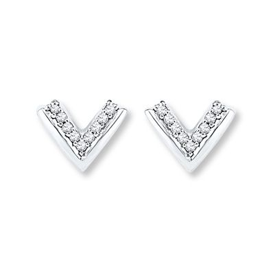 "Diamond ""V"" Earrings 1/10 Carat tw Round-cut Sterling Silver"
