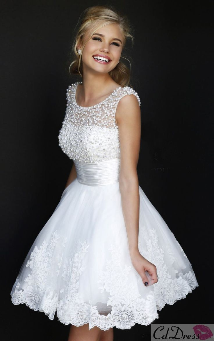 Beaded scoop neckline white lace dress beauty pinterest white