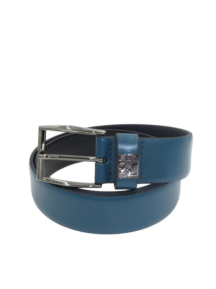 ddc1d8356fb3 VERSACE Collection Italy Men s Teal Blue Leather Medusa Buckle Belt ...