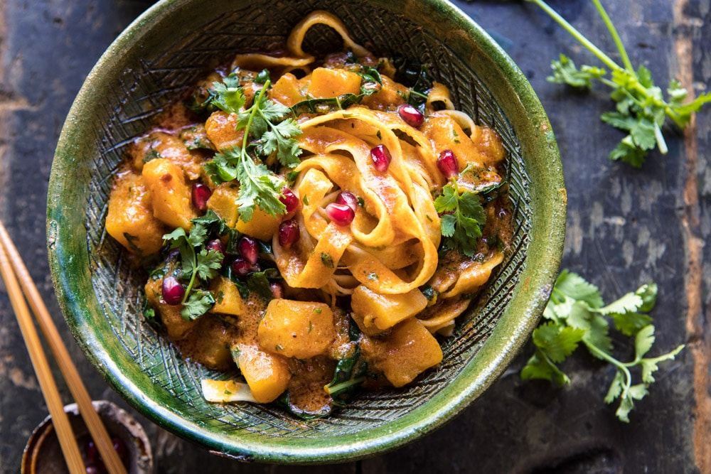 Slow Cooker Saucy Thai Butternut Squash Curry With Noodles