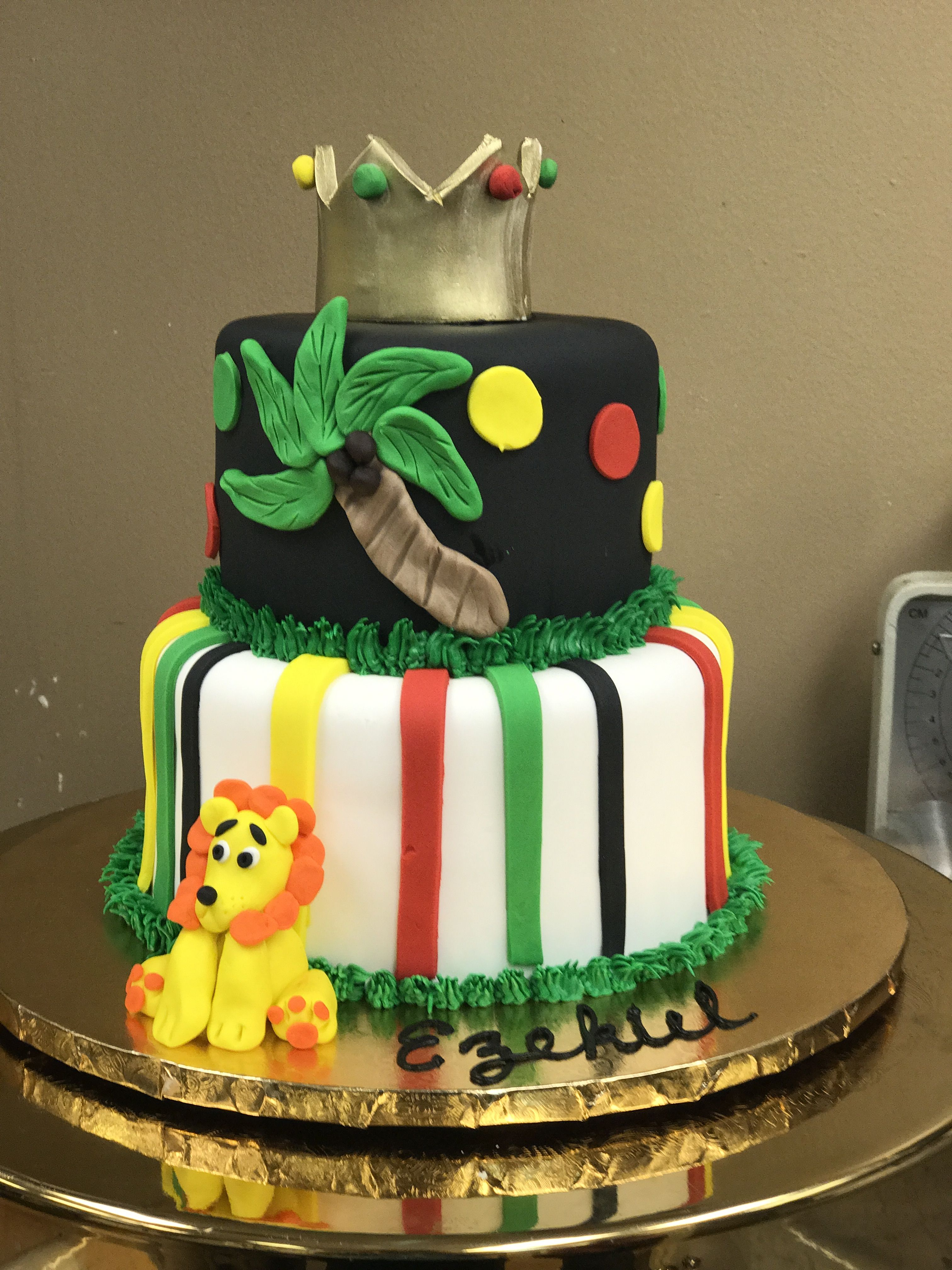 King Of The Jungle Lion First Birthday Cake In Tampa Florida