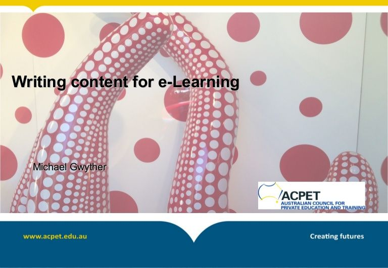 PowerPoint presentation for ACPET webinar. Blended Learning, Quizzes, Decision making trees, working with subject matter experts.