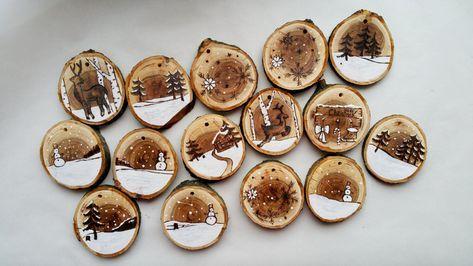 Ornamento di natale originale in legno per albero di for Ornamenti casa