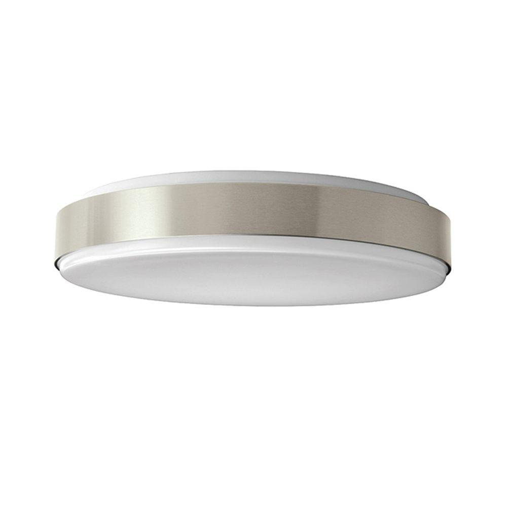 Hampton Bay 15 in  Brushed Nickel LED Round Ceiling Flush Mount     Brushed Nickel LED Round Ceiling Flush Mount Light 54620141   The Home Depot