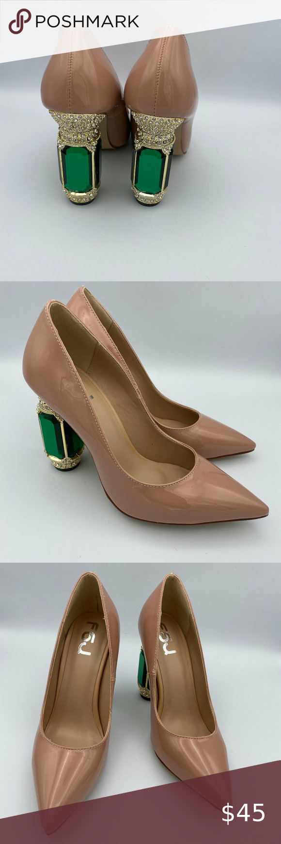 Womens High Heels Nude Chunky Thick Shoes Pointed Closed