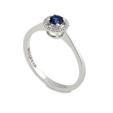 Ροζέτα δαχτυλίδι Κ18 από λευκόχρυσο με μπλε ζαφείρι και διαμάντια σε κοπή  μπριγιάν περιμετρικά  9a33a5d0255