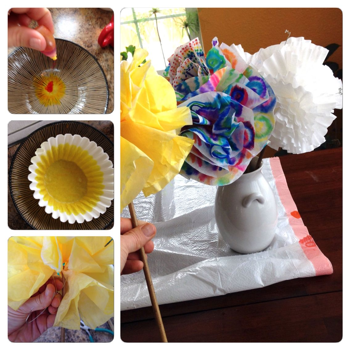 Coffee filter flowers table decor: take coffee filters and soak them in food dye or use markers and a spray bottle of water. Let them dry. Use wire and a stick to scrunch the filters to form a puffy flower. Fun to do with your kids!
