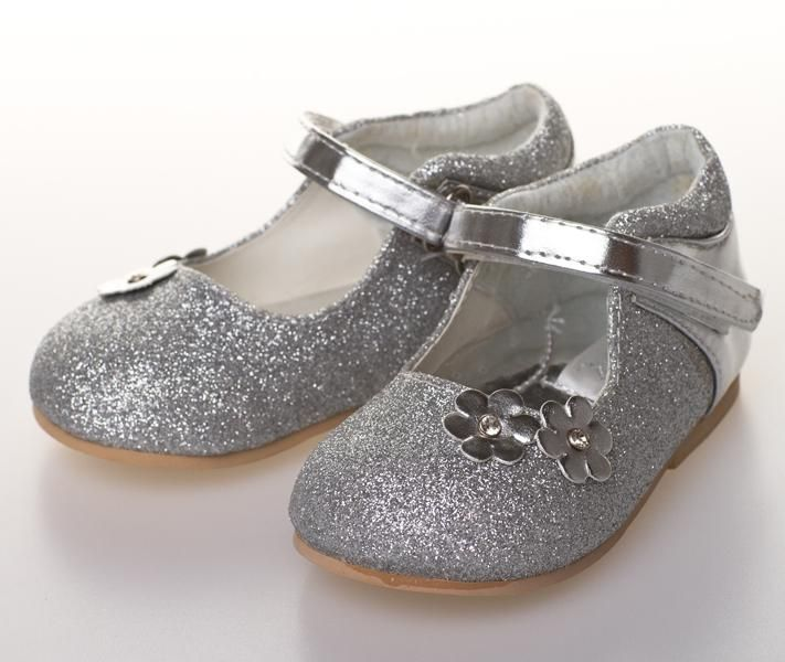 Girls Velcro Strap Shoes | Silver Sparkly Glitter Shoe | Floral | Dimantes | Bridesmaid | Flowergirl | Party Shoes