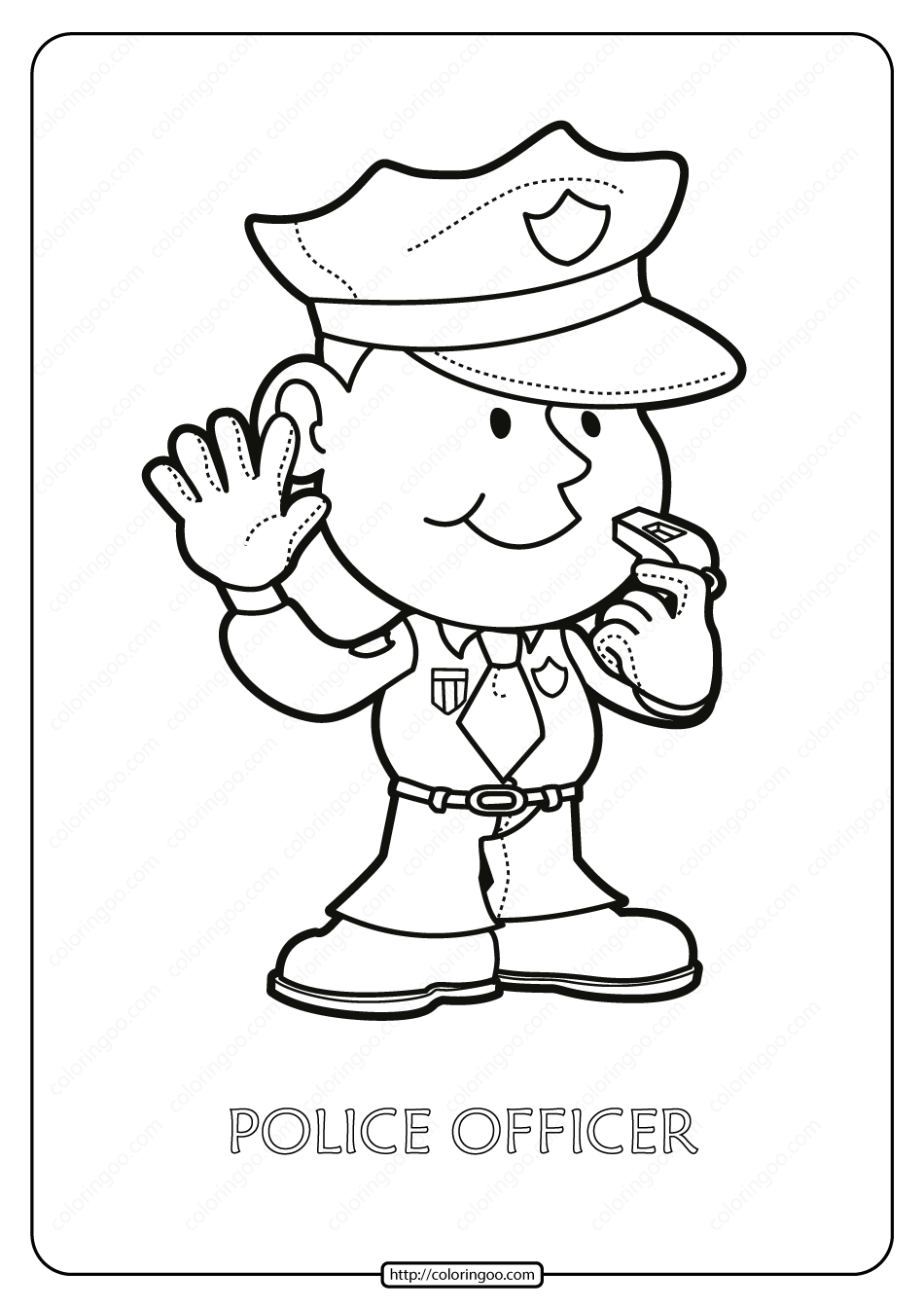 Printable Police Officer Pdf Coloring Page Coloring Pages Police Officer Color