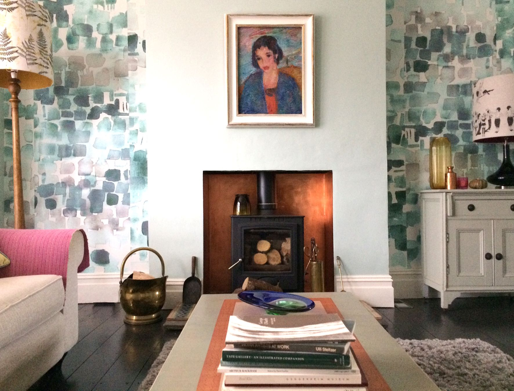 Watercolour Wallpaper In Jade Green Looks Amazing Next To The Copper Fireplace This Sussex Home
