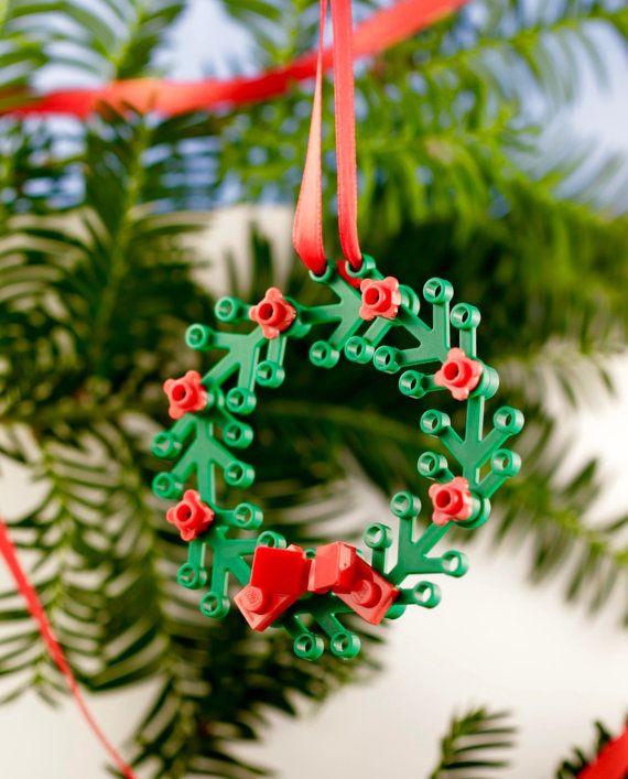 lego wreath ornament mini wreath for windows cool christmas decorations nerdy christmas - Nerdy Christmas Ornaments
