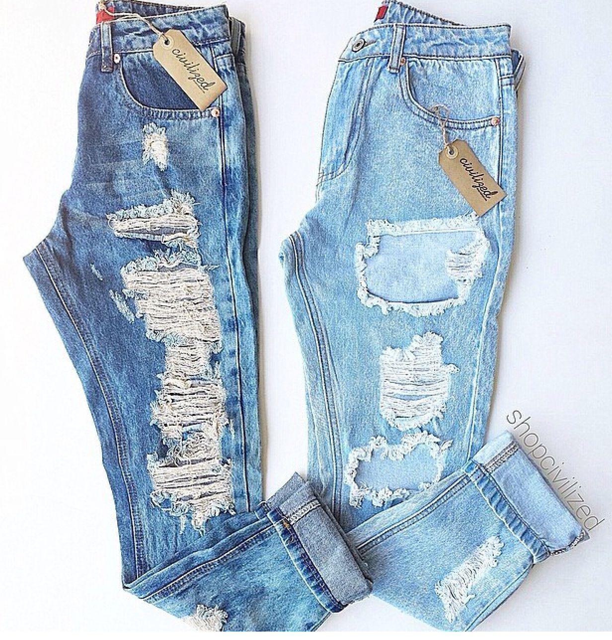 Anchos Rotos Jeans Roto Mujer Ropa Para Festivales De Musica Pantalones De Moda