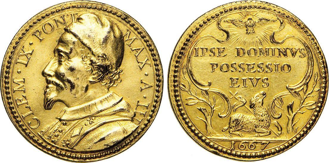 "NumisBids: Numismatica Varesi s.a.s. Auction 65, Lot 872 : CLEMENTE IX (1667-1669) Med. A. I, 1667 ""Possesso del Laterano"" ..."