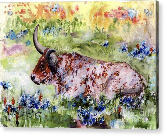 Texas Longhorn In Blue in 2020 Painting, Art