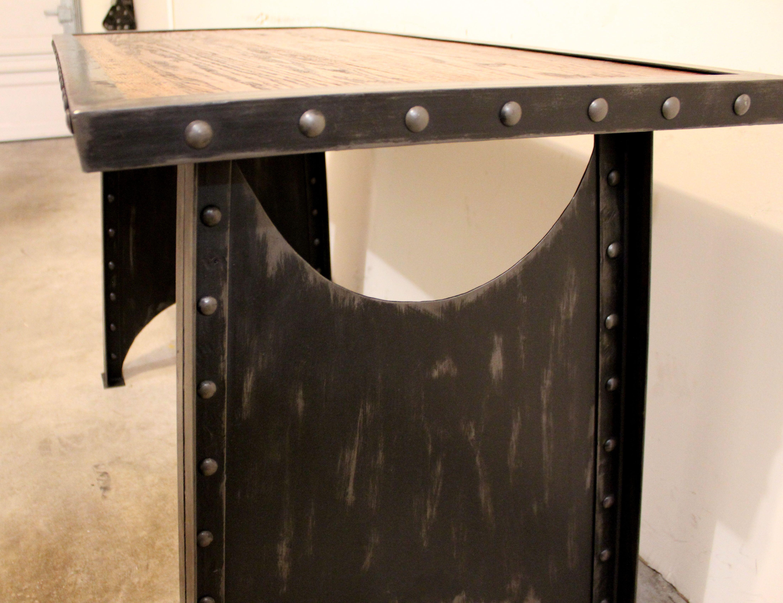Industrial metal and oak desk. rivets, wood | Modern Industrial ...