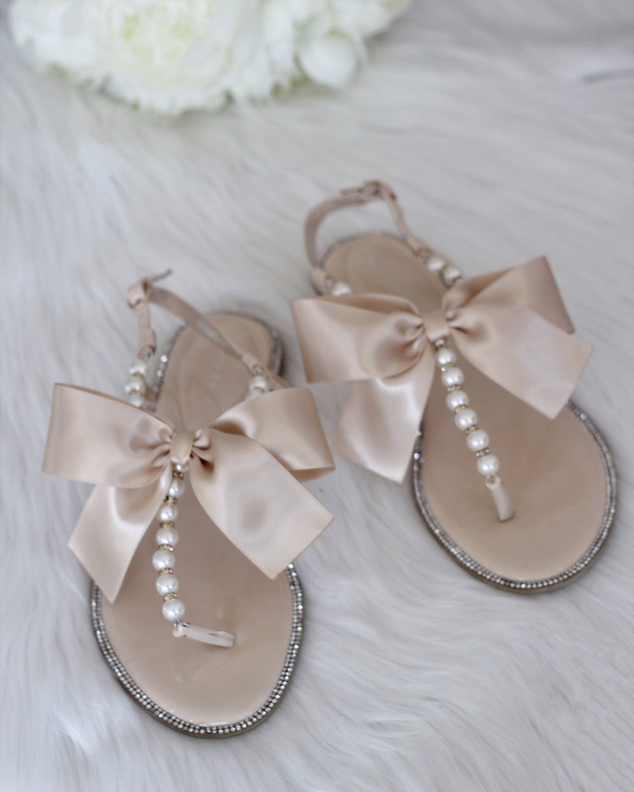 e9a06c6d5fc847 Women Pearls Wedding Sandals - BEIGE Patent Pearl Rhinestones flat sandal  with oversized satin bow
