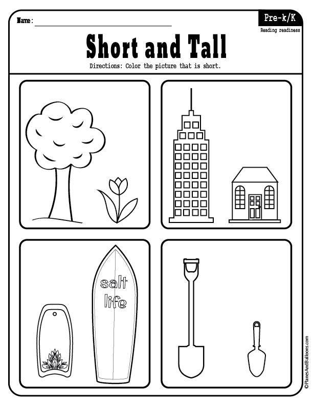 Short And Tall Worksheets Kids Math Worksheets Alphabet Worksheets Preschool Preschool Learning Activities