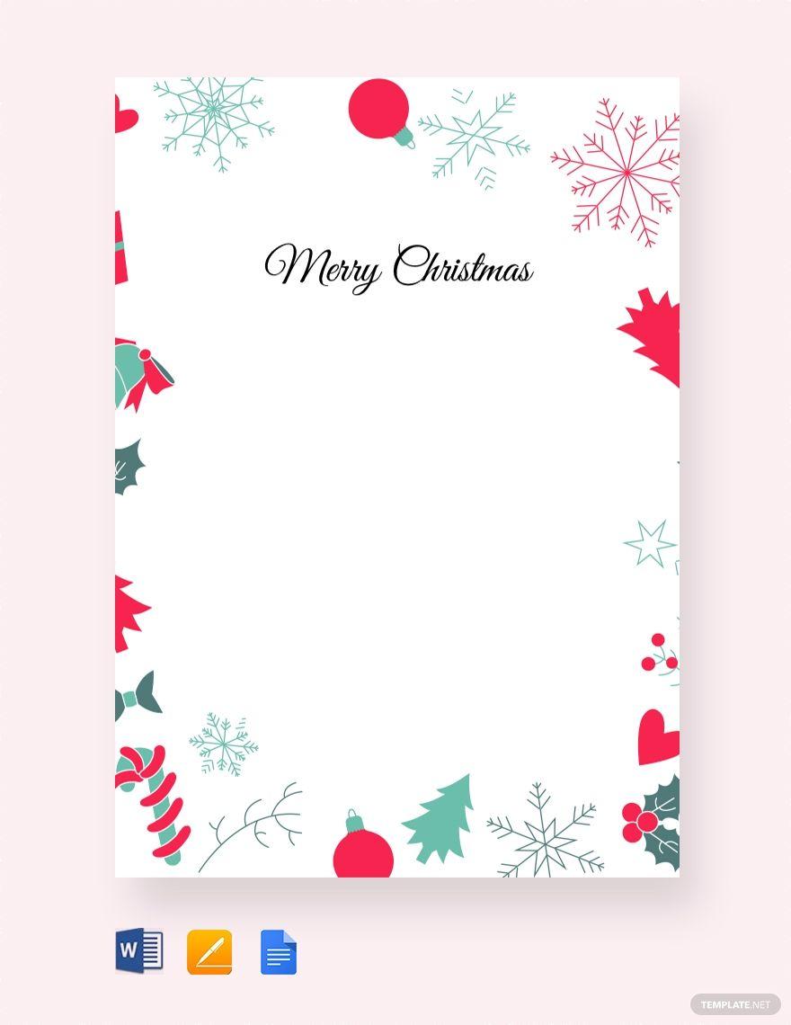 Free Christmas Border Letter Christmas Letter Template