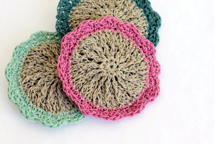 Crocheted Hemp Scrubbies - Free Pattern | Círculos